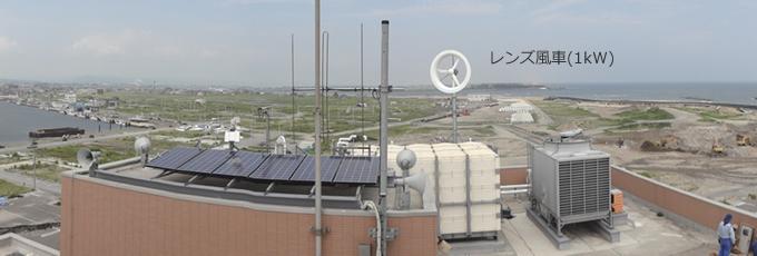 宮城県亘理町鳥の海に設置した1kWレンズ風車