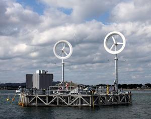 博多湾に設置された六角形浮体と風レンズ風車(2011年12月4日)