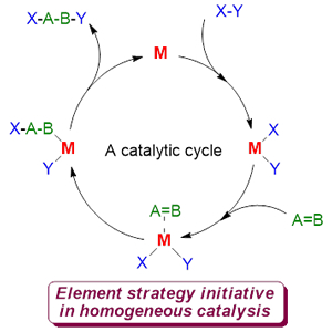 A catalytic cycle of typical homogeneous catalysis and element strategy initiative