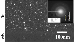 UNCD/a-C:H膜の電子線回折パターンとダイヤモンド111回折リングの一部で結像された断面TEM暗視野像